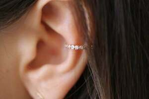 0.20 Ct Diamond Ear Cuff Small Ear Gift For Her Solid 14k Yellow Gold Over
