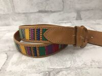 Vintage Genderless Leather Western Belt Size Medium with Woven Wool Guatemalan