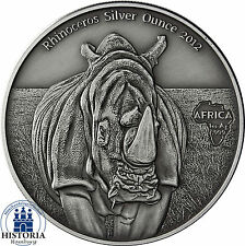Africa Series 2012: Congo 1000 Francs Rhinoceros Silver Ounce antique finish