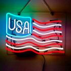 New U.S. Flag USA 14'x10' Neon Light Sign Lamp Acrylic Decor Bedroom Artwork Bar