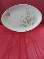 "MEITO CHINA OVAL SERVICE PLATTER 11 7/8 "" MADE IN JAPAN FLORAL WITH GOLD TRIM."