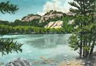 """aceo original acrylic """"On the River Shore"""" by J. Hutson"""