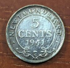 1941 C AU UNC Newfoundland Canada 5 Five Cents Silver Half Dime Coin Lot D77