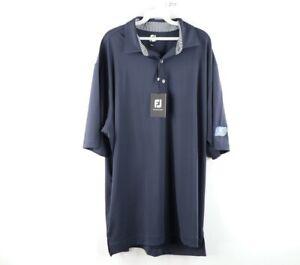 New FootJoy Mens 2XL XXL Stretch Fit Short Sleeve Golfing Golf Polo Shirt Blue