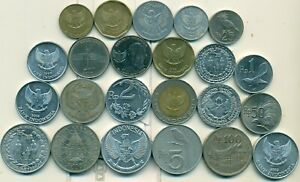 23 DIFFERENT COINS from INDONESIA (23 TYPES/13 DENOMINATIONS/1952-2016)..Lot #2
