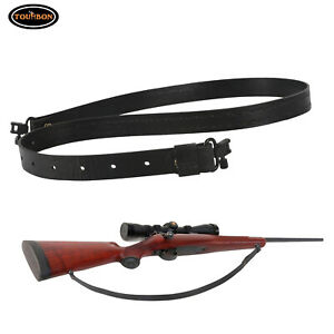 """Tourbon Vegetable Tanned Leather Gun Sling 2 Points Rifle Strap with 1"""" Swivels"""