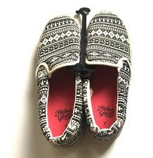 Faded Glory Women's Shoes Size 7 Brand New Canvas Zig Zag Striped Flats Slip Ons