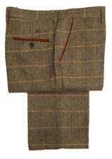Pantalones de hombre delantero liso de color principal marrón