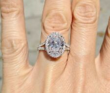 2.05 ct. Split Shank Oval Cut Halo Diamond Engagement Ring E, VS2 GIA 14k WG