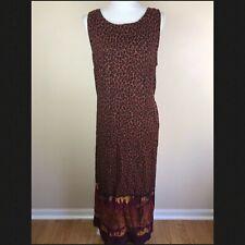 Sag Harbor Dress Womens Size 12 Brown Red Black Animal Print