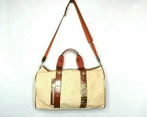 MOSCHINO bag holdall travel shoulder beige brown hand luggage gold pack large