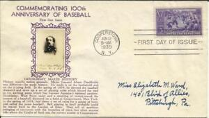 """US BASEBALL FIRST DAY Sc#855 CROSBY CACHET """"Doubleday Makes History"""