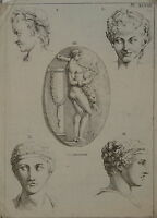 GRAVURE XVIII° HERCULES HOMME NU LION MYTHOLOGIE MYTHOLOGY ITALIE ITALIA gay int