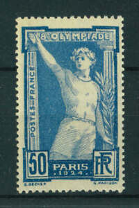 France 1924 Olympic Games 50c blue stamp. Mint. Sg 404.