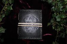 Negro Cuero obligado libro diario/Pentáculo De Las Sombras ~ papel hecha a mano