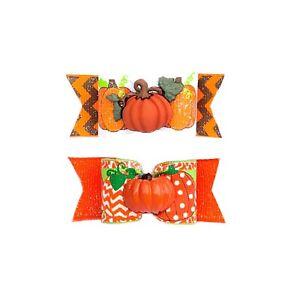 Dog Hair Bows- Fall Autumn Thanksgiving Pumpkin Pet Turkey Elastics or Barrette