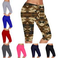 Women Leggings Capri Yoga Pants High Waist Gym Fitness Workout Sport Trousers
