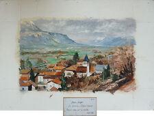 Peinture de Jean VERGER Le Berlioz à Villard Bonnot (en Isère) Paysage montagne