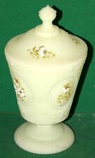 Vintage Frosted Glass Covered Bowl Vase Hand Painted Flowers by V Hendricks