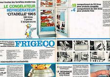 PUBLICITE ADVERTISING 1965 FRIGECO congélateur réfrigérateur  (2 pages)
