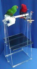 """Parrot PORTABLE FLOOR STAND h36""""-w16"""" ez-clean lift-off tray 2 cups double toy"""