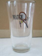 """Tennis """"Match Point"""" tall clear drinking glass 6 inches high FREE SHIP"""