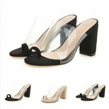 Ladies Summer Block Heel Transparent Clear Sandals Slip On Slipper Party Leisure