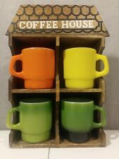 Anchor Hocking Glass Cups Mugs Fire King Oven Proof & wooden shelf wall display