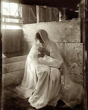 Vintage Photograph The Manger Jesus 8X10 Black & White Print Picture Photo Old