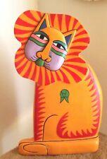 "Vtg Laurel Burch Heavy Painted Wood Orange & Red Lion Sculpture/Figurine 13"""