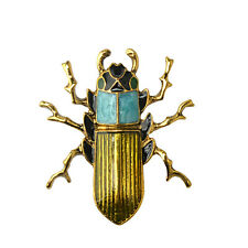 Nice Genuine Jewelry Brooch Green Scarab Beetle Insect Brass Pin Wood Boring Bug