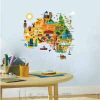 Australia Map Wall Sticker Art Nursery Decal Kids Room Home Decor Art Mural Gift