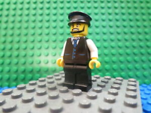 Lego Minifig: #CTY0692 Limousine Driver - Black Vest with Blue Tie from #60102