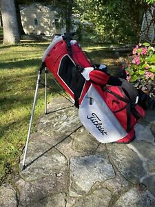 Titleist Players 4 Plus Stand Bag 4-Way Top (Red/White/Gray) **MINT**