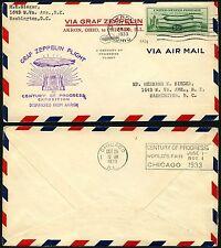 118/Zeppelin USA 1933 Chicagofahrt Brief EF Akron Chicago Si 243 A