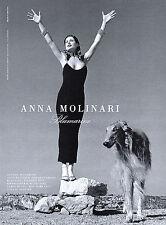 1995 Blumarine Helmut Newton Anna Molinari Carre Otis with dog MAGAZINE AD