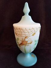 Fenton #1/4 Kim Barley Covered Candy Dish HP Lobster Crab Starfish Ocean Beach