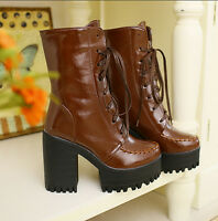 Womens Punk Chunky Block Heel Platform New Lace Up Ankle Boots Shoes ALL AU Sz