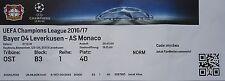 TICKET UEFA CL 2016/17 Bayer Leverkusen - AS Monaco