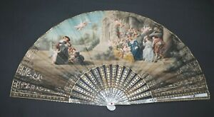 FINE ANTIQUE CARVED MOTHER OF PEARL HAND PAINTED AFTER RUBENS SCENE FAN