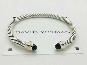 David Yurman 5mm Black Onyx & Gold Bracelet