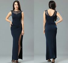 Ladies Women Ball Prom Party Celeb Black Side Lace Runched Long Maxi Dress 8 10