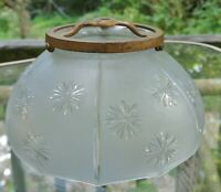 Vintage Frosted Glass shade with embossed Daisies and Metal Fitter