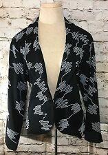 MING WANG Cardigan Jacket Size Large Petite 100% Acrylic Knit Black White NWT