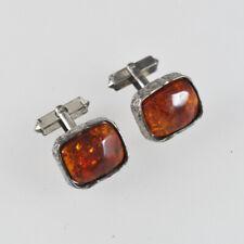 Cufflinks - Amber - 800 Silver Old - Vintage Silver Amber Cufflinks