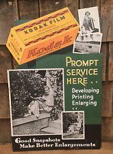 WOW Vintage KODAK FILM Developing Service Advertising Store Display Easel Sign