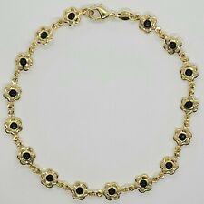 Flower Ankle Bracelet 10 inch Long Gold Filled Black Color Stones # 50
