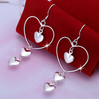 Classic 925 Sterling Silver Filled Long Lovely Heart Dangly Earrings Gift