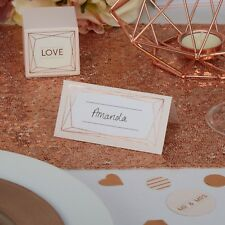 Pack of 25 x Geo Blush Wedding Table Place Cards - Pink, Rose Gold and White