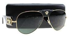 New Versace Sunglasses Men Aviator VE 2150Q Gold 100271 VE2150Q 62mm